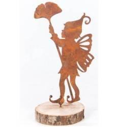 Edelrost Metallsatz 'Junge mit Gingkoblatt' als Baumstecker, zum Einschrauben in Holz,Höhe 20 cm