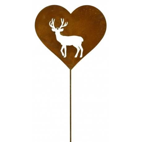 Edelrost Gartenstecker Herz mit Hirschmotiv , Höhe 19 cm Rostdeko Roststecker Herzstecker rostig Hirsch
