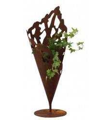 Edelrost Metalltüte ' Vecchio' zum Stellen auf Platte Lichttüte Rosttüte Rostdeko rostig