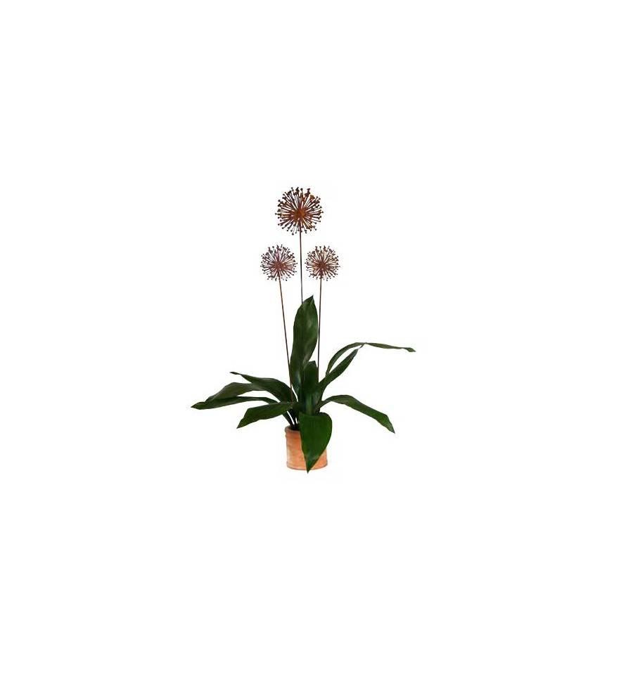 Edelrost Blumenstecker Allium 15cm Durchmesser (flach) Garten-Deko