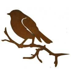 Vogel Meise auf Ast seitlich, zum Einstecken in Weichholz, Höhe 14 cm Breite 27 cm