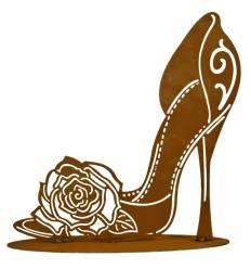 High Heel mit Rose Höhe 30 cm aus Edelrost als Metall Dekoration für Ihren Garten und als Geschenkidee