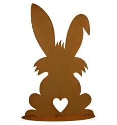 Hase mit Herz Puschel 60 cm hoch - Große Osterhasen Figur für den Garten