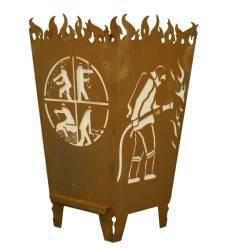 Edelrost Feuerkorb eckig 'Florian' Höhe 68 cm - die Feuerstelle für den gemütlichen Grillabend