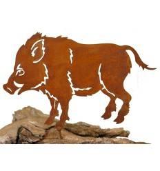 Metallsatz Wildschwein als Baumstecker, zum Einschrauben in Holz, Höhe 16 cm