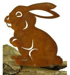Metallsatz hoppelnder Hase als Baumstecker, zum Einschrauben in Holz, Höhe 15 cm