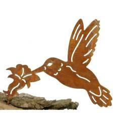 Metallsatz Kolibri als Baumstecker, zum Einschrauben in Holz, Höhe 16 cm