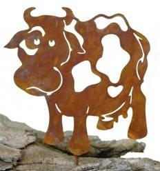 Metallsatz Kuh als Baumstecker, zum Einschrauben in Holz, Höhe 15 cm