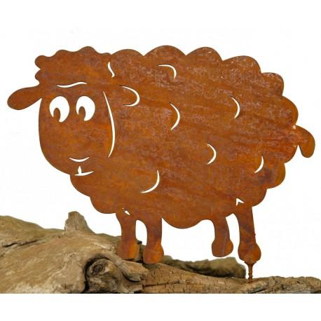 Metallsatz Schaf als Baumstecker, zum Einschrauben in Holz, Höhe 14,5 cm