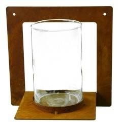 Edelrost Kerzenhalter eckig zum Anschrauben mit Glas 20 x 20 cm