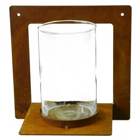edelrost kerzenhalter eckig zum anschrauben mit glas 20 x 20 cm. Black Bedroom Furniture Sets. Home Design Ideas