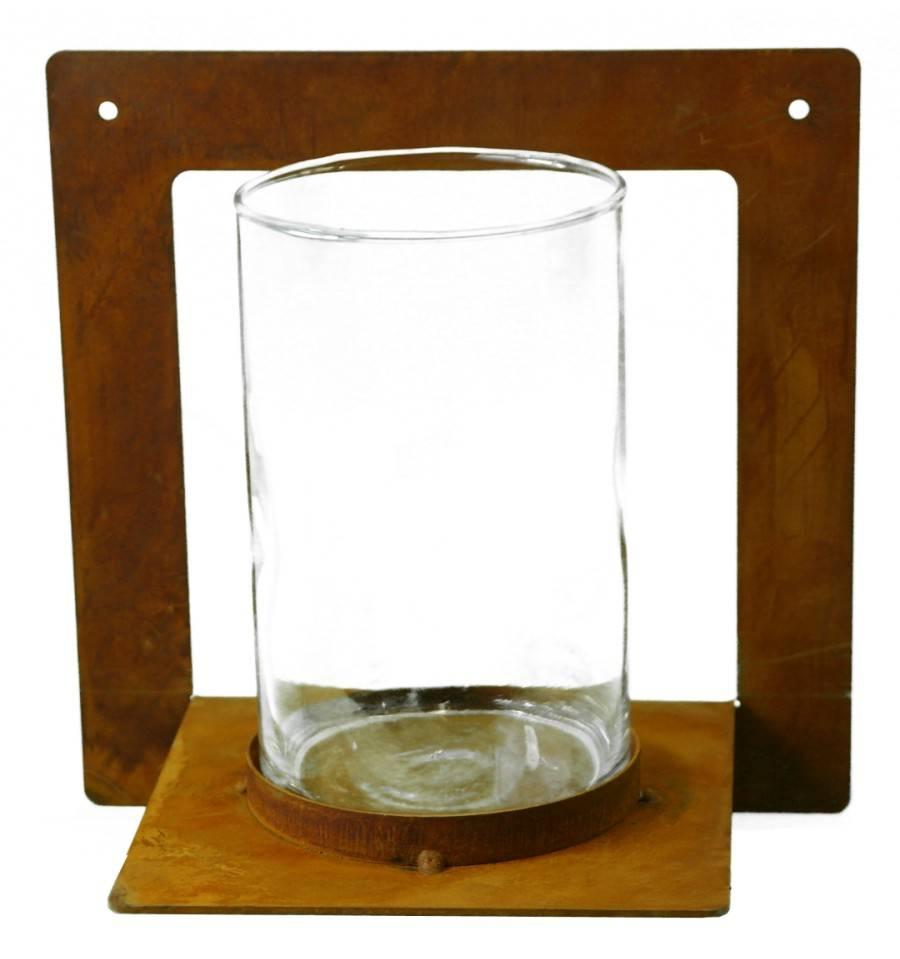 Edelrost Kerzenhalter Eckig Zum Anschrauben Mit Glas 20 X