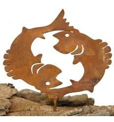 Metallsatz Sternzeichen 'Fisch' als Baumstecker, zum Einschrauben in Holz, Höhe 11 cm
