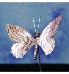 Edelstahl Gartenstecker Schmetterling mit geflammten Muster - jedes ein Unikat