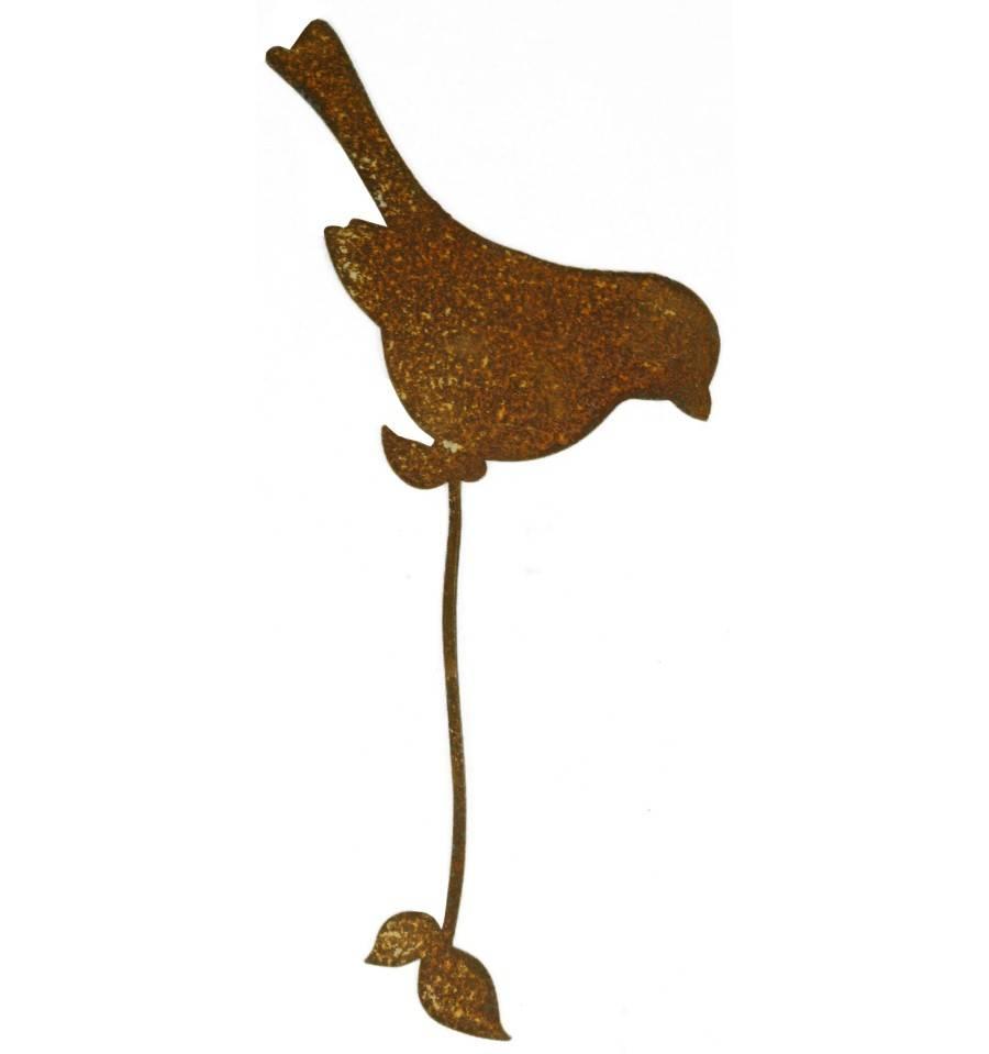 edelrost vogel sitzender dompfaff mit befestigungsband f r. Black Bedroom Furniture Sets. Home Design Ideas