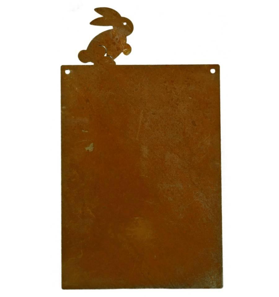 rostschild mit hase zum beschriften zum h ngen h he 34 cm. Black Bedroom Furniture Sets. Home Design Ideas