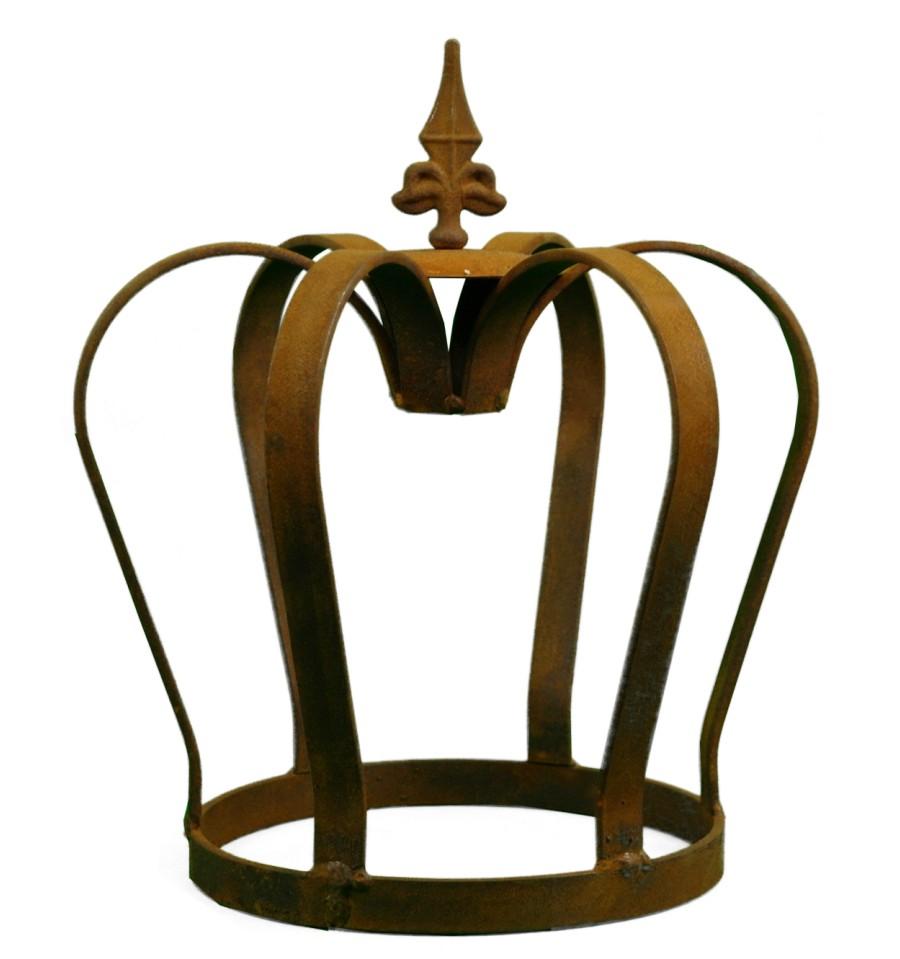 Edelrost Krone massiv mit Lilienspitze königliche Deko für den Garten