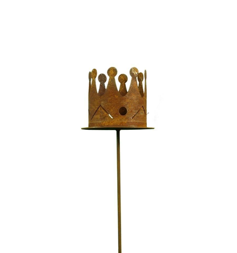 Edelrost Krone auf Stab Ø 7 cm - königliche Deko für den Garten