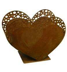 Edelrost Herz auf Platte zum Bepflanzen Höhe 23,50 cm -harmonische Homedeko für Drinnen und Draußen
