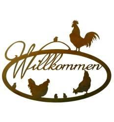 Edelrostschild mit Hühnerfamilie 'Willkommen', oval zum Hängen, Höhe 42 cm Breite 55 cm