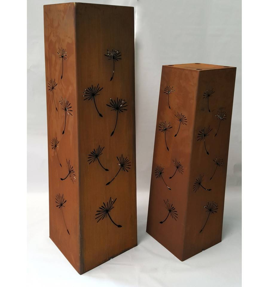 edelrost s ule 39 pusteblume 39 eckig h he 120 cm. Black Bedroom Furniture Sets. Home Design Ideas