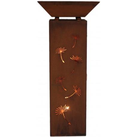 SET: Säule 'Pusteblume' eckig, Höhe 100 cm inkl. Schale Gartendeko aus rostigem Metall