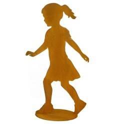 laufendes Mädchen aus Edelrost auf Platte Höhe 115 cm Gartendeko aus rostigem Metall