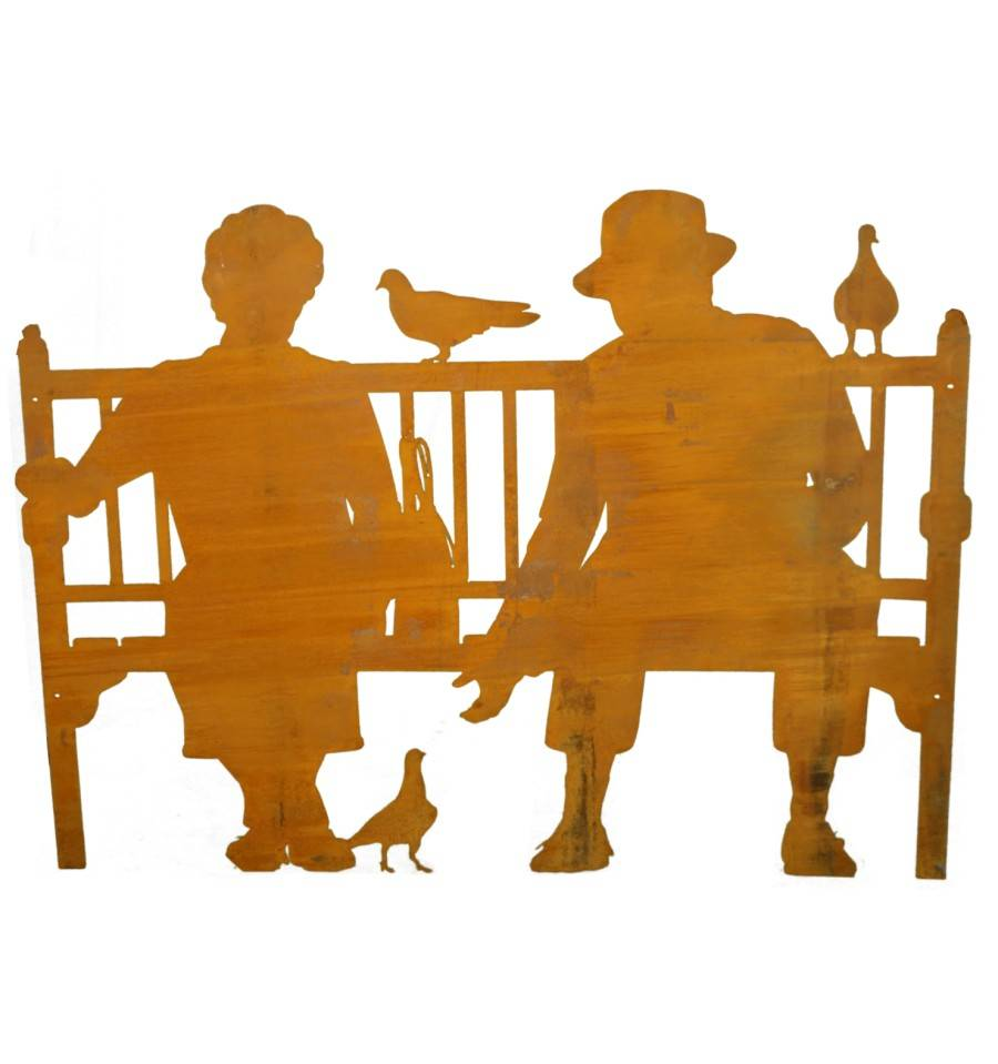 Edelrost shilouette paar auf bank zum anschrauben for Figuren aus rost