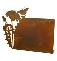 Rost Tischaufsteller mit Löwenzahn, quer, zum selber Beschriften, Höhe 29 cm Breite 36 cm