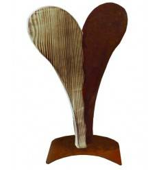 Zweiteiliges Herz aus Rost und Holz 42 cm hoch - Gr. S