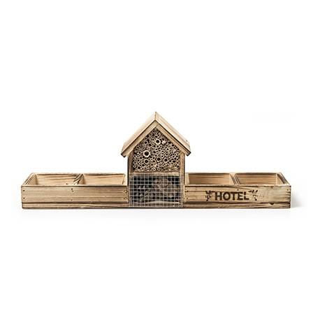 Holz Insektenhotel angeflammt, Höhe 15 cm