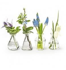 Glas Deko Vase 4-fach sortiert, Höhe 10 cm
