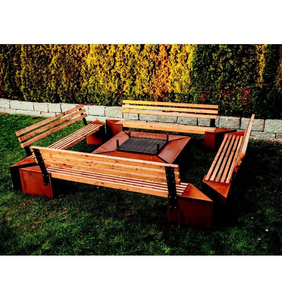 feuerstelle 39 frienship 39 bank h he 77cm l nge 250 cm metallmichl. Black Bedroom Furniture Sets. Home Design Ideas