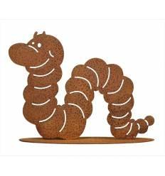 lustiger Wurm aus Metall mit Edelrostpatina auf Platte Höhe 20 cm Breite 30 cm