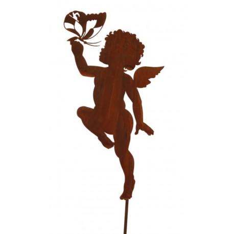 Engel mit Schmetterling auf Stab Höhe 120 cm