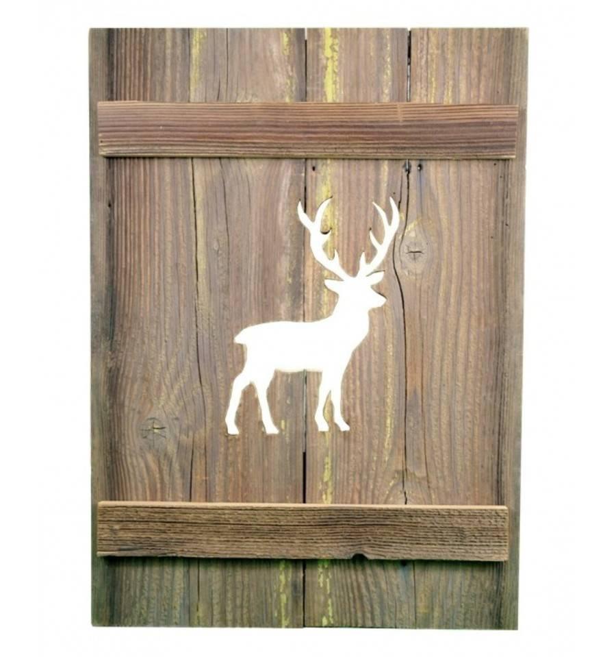 deko fensterladen aus altholz fichte hirsch nach rechts. Black Bedroom Furniture Sets. Home Design Ideas