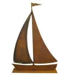 Edelrost Segelschiff mit Schweißrand auf Platte, Gr. L Höhe 60 cm