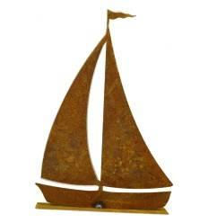Segelschiff edelrost 15 cm hoch auf Platte Schiffchen | Mini