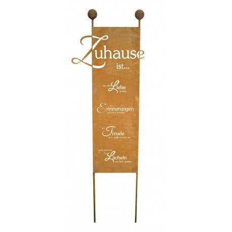 xxl gartenstecker zuhause edelrost schild h he 205 x. Black Bedroom Furniture Sets. Home Design Ideas
