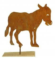 Rost Metallsatz Esel als Baumstecker, mit Schraube, Höhe 10,5 cm