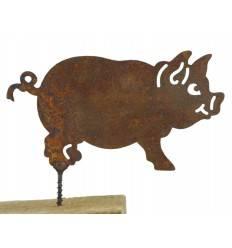 Rost Metallsatz Glücks Schwein als Baumstecker, mit Schraube, Höhe 7 cm