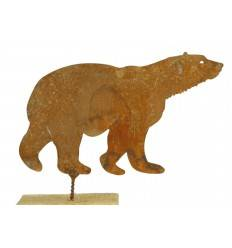 Rost Metallsatz Eisbär als Baumstecker, mit Schraube, Höhe 10 cm