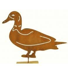 Rost Metallsatz Ente als Baumstecker, mit Schraube, Höhe 10 cm