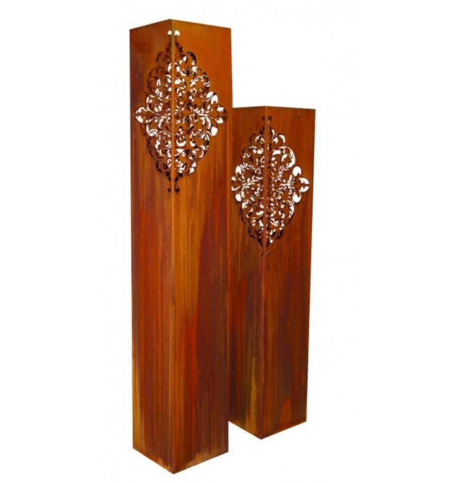 edelrost s ule mit orientalischem muster als laterne kaufen. Black Bedroom Furniture Sets. Home Design Ideas