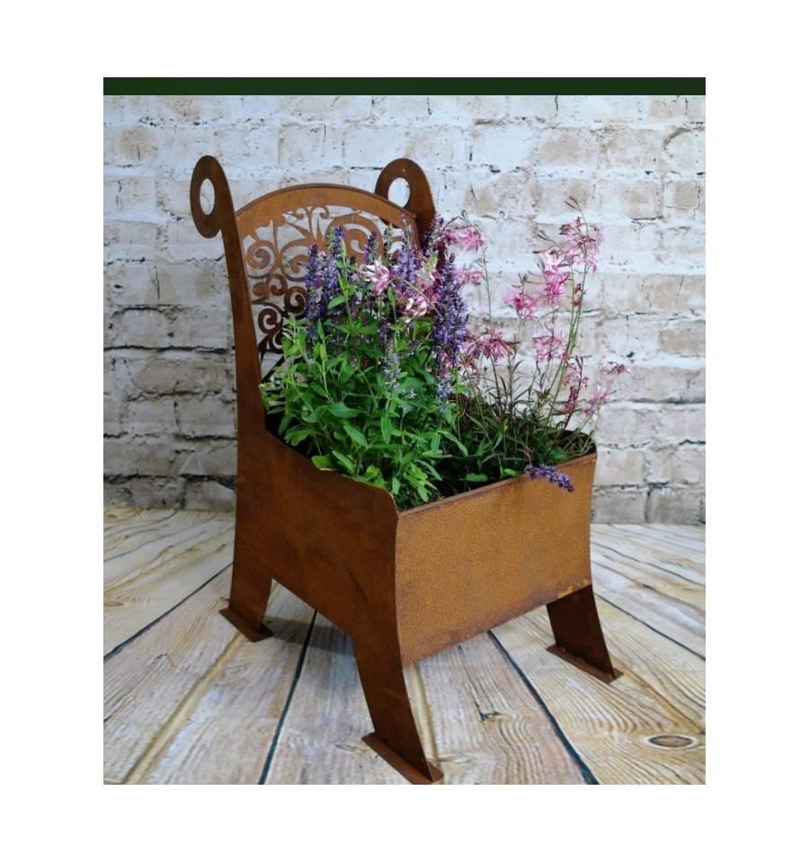 edelrost pflanzstuhl mit ranken f r blumen salat und kr uter kaufen. Black Bedroom Furniture Sets. Home Design Ideas