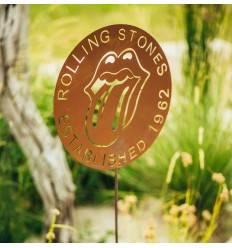 Gartenstecker rund Rolling Stones aus Edelrost Ø 40 cm, mit Stab 100 cm
