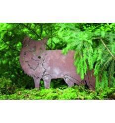 Edelrost Fuchs auf Stab Höhe 34 cm Länge 52 cm