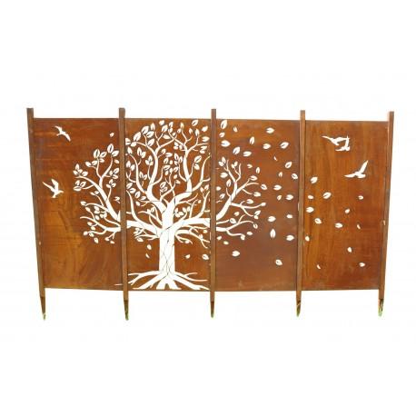 Edelrost Paravent Sichtschutz Wand Baum als Set rostig Rost Gartendeko