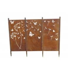 Edelrost Paravent Sichtschutz Wand Pusteblume als Set rostig Rost Gartendeko