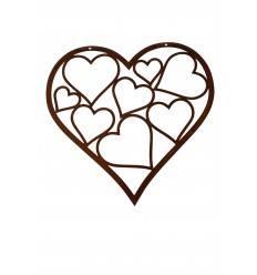 Wandbild Herz in Herz zum Aufhängen - Höhe 30 cm